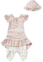Edgehill Collection Baby Girls Newborn-6 Months Top, Leggings, and Bonnet Set