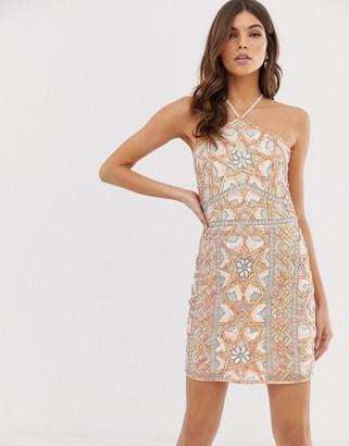 Asos DESIGN embellished mini dress in neon tile with halter neck