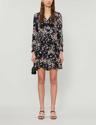 Whistles Abstract animal-print crepe mini dress