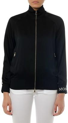 Moncler Black Zipped Technical Fabric Sweatshirt