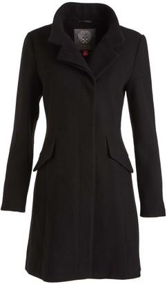 Vince Camuto Women's Car Coats Black - Black Wool-Blend Funnel Collar Coat - Women