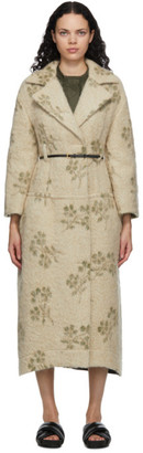 Jil Sander Beige Wool Floral Coat