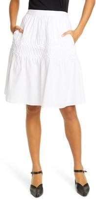 Merlette New York Castell Smocked Tiered Cotton Skirt