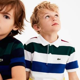 Lacoste Boys' Colored Stripes Cotton Pique Polo