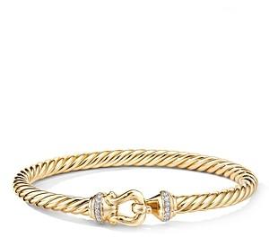 David Yurman 18K Yellow Gold Cable Buckle Bracelet with Diamonds