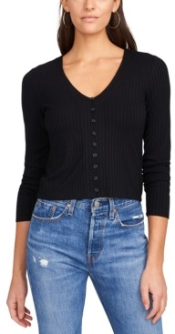 1 STATE Button-Front Ribbed-Knit Top