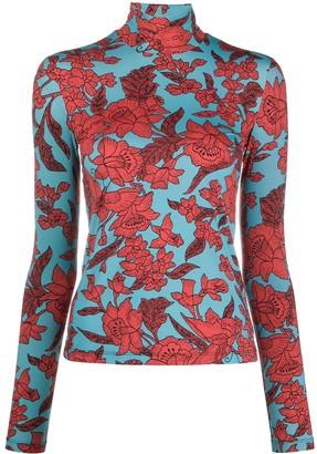 La DoubleJ Floral-Print Roll Neck Top