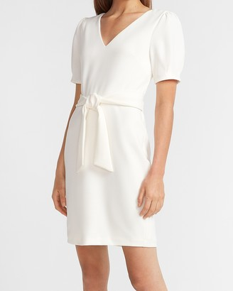 Express V-Neck Tie Waist Sheath Dress
