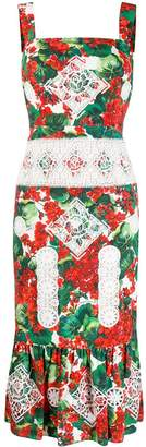 Dolce & Gabbana hydrangea print lace detailed dress
