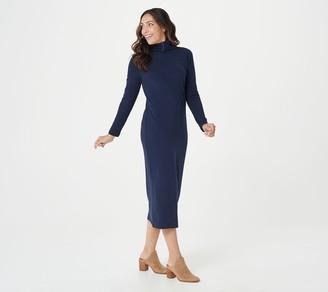 Women With Control Attitudes by Renee Regular Mock Neck Finespun Sheath Midi Dress