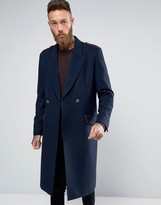 Asos Wool Mix Overcoat with Military Styling in Navy