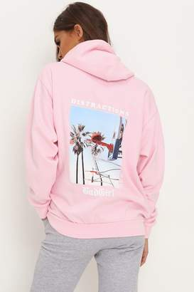 I SAW IT FIRST Pink Bad Girl Oversized Hoodie