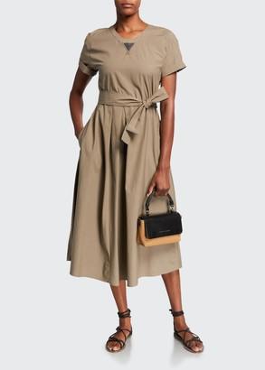Brunello Cucinelli Cotton Poplin Short-Sleeve Dress