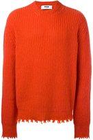MSGM frayed ribbed sweater
