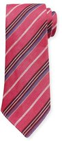Canali Striped Linen-Silk Tie, Pink