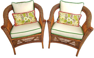 One Kings Lane Vintage Natural Wicker Armchairs - Set of 2 - Acquisitions Gallerie