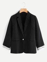 Shein Pinstripe Contrast Lace Blazer With Faux Pearl Detail