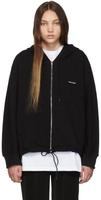 Balenciaga Black Mini Logo Zip Hoodie