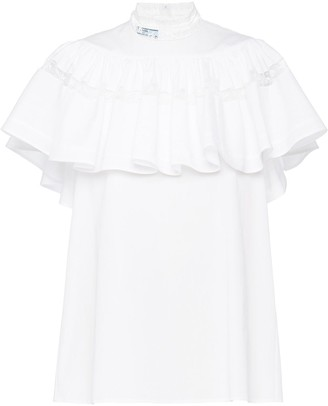 Prada Ruffle-Panel Lace-Trim Blouse