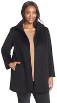 Fleurette Plus Size Women's Wool Stand Collar Car Coat