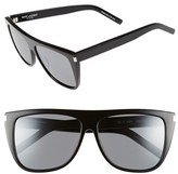 Saint Laurent Women's Sl1 59Mm Flat Top Sunglasses - Black/ Silver