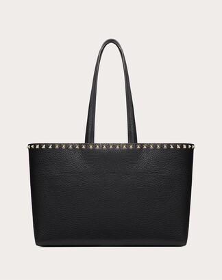 Valentino Small Rockstud Grainy Calfskin Shopper Women Black Calfskin 100% OneSize