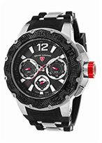 Swiss Legend Men's 'Ultrasonic' Quartz Stainless Steel and Silicone Casual Watch, Color:Black (Model: 14096SM-01-BB)