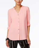 Alfani V-Neck Tab-Sleeve Blouse, Only at Macy's
