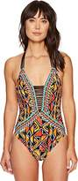 Nanette Lepore Women's Mozambique African Print Goddess One Piece Mio Swimsuit