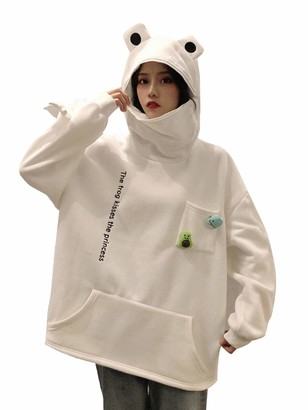 Hertsen Women's Frog Hoodie Loose Zipper Pullover Sweatershirt Fluffy Cartoon Hooded Top with Large Front Pocket (ZZ-White XXL)
