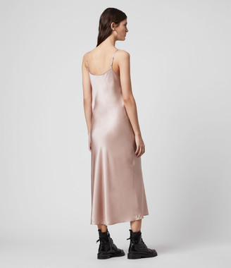 AllSaints Tierney Silk Blend Satin Slip Dress