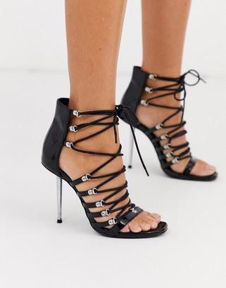 Asos Design DESIGN Nine lace up heeled sandals in black