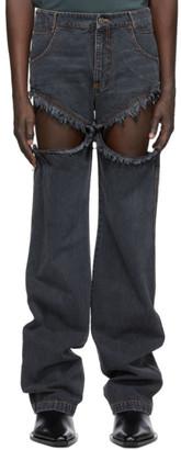 Telfar Black Thigh Hole Jeans