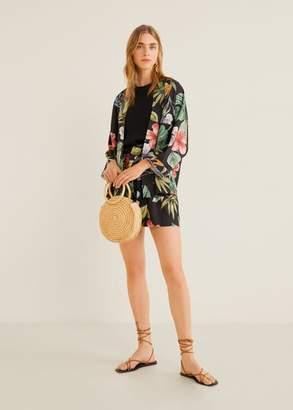 MANGO Tropical Kimono black - XXS-XS - Women