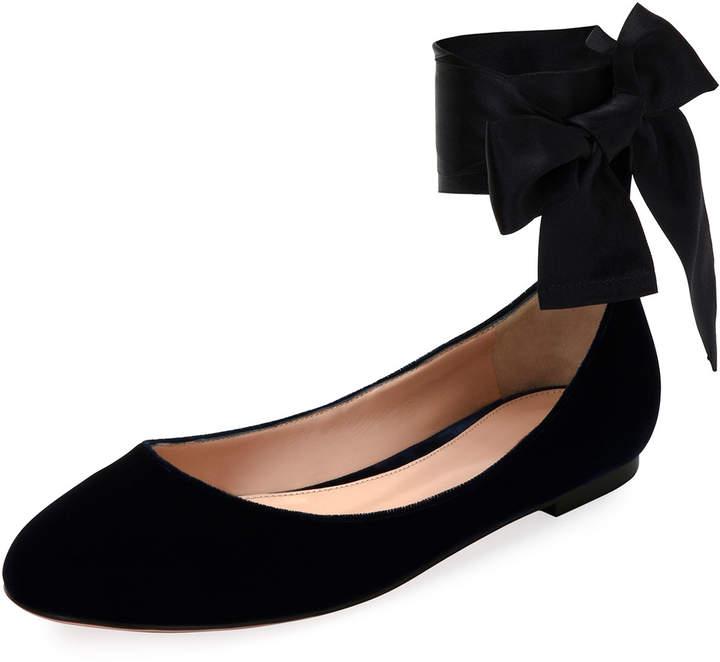 Gianvito Rossi Velvet Ankle-Wrap Ballerina Flat, Black
