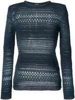 Balmain crocheted detail jumper - women - Cotton/Viscose - 38