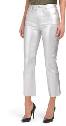 The Leather High Waist Kick Metallic Jeans