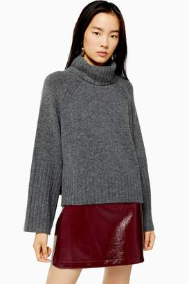 Topshop Womens Grey Knitted Super Soft Crop Roll Neck Jumper - Charcoal
