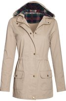 BodiLove Women's Plaid Hooded Drawstring Waist Utility Jacket M (J2057 BLACK)
