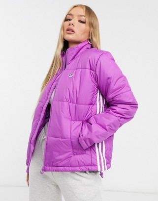 adidas short length padded jacket in purple