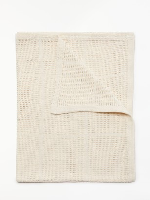John Lewis & Partners Baby Cellular Cot/Cotbed Blanket, 160 x 130cm, Cream