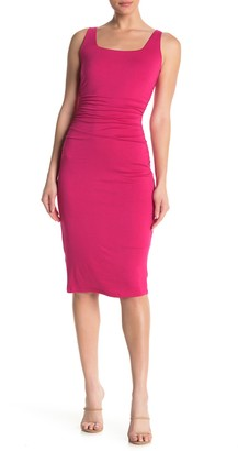 Socialite Square Neck Sleeveless Ruched Bodycon Dress