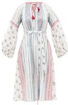 D'Ascoli Amangansett Belted Floral-print Cotton Dress - Womens - Blue Print
