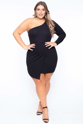 Arabella Curvy Sense One Shoulder Dress in Black Size 1X