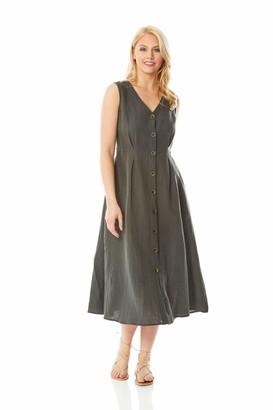 Roman Originals Women Button Through Linen Midi Dress - Ladies Daywear Casual Everyday Summer Holiday Workwear Smart Fit and Flare Sleeveless V Neck Dress - Khaki - Size 12