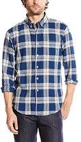 Naked & Famous Denim Men's Regular Shirt Cotton-Linen Check Navy Natural