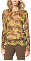 Michael Kors Camouflage-Print Mohair-Blend Sweater Petite
