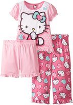 Hello Kitty Little Girls' Turquoise Hearts 3-Piece Pajama Set