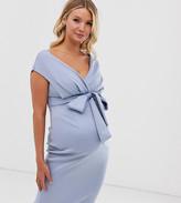 Asos DESIGN Maternity fallen shoulder midi pencil dress with tie detail