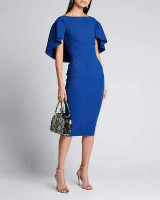 Chiara Boni High-Neck Short-Sleeve Cape Dress